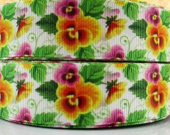 "Pansy 1"" Printed Ribbon - Flower Ribbon"