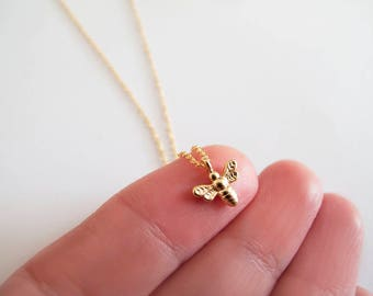 Tiny Gold Bee Necklace - Gift for Her