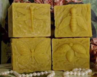 Beeswax Choice Of Design Candle Bee or Dragonfly or Butterfly or Ladybug Square Pillar