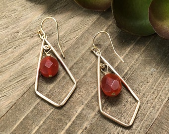 Gold-Filled Kite-Shaped Dangle Earrings with Carnelian Drop