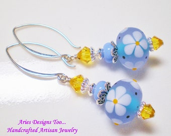 Blue Daisy Lampwork Earrings in Periwinkle Blue with White Flowers and Yellow Centers. Blue and Yellow Floral Lampwork Earrings
