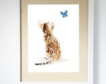 Bengal Cat & Butterfly, Art Print  Unframed Print #131