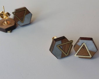 Cherry Hexagon Stud Earrings, Triangle Brass Inlay, Lightweight, Gold-plated Posts, One-of-a-kind