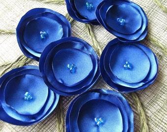 Fabric flowers, satin sew on flower appliques, wedding flowers, satin flowers bulk, small flowers for headbands (15pcs)- ROYAL BLUE BLOSSOMS