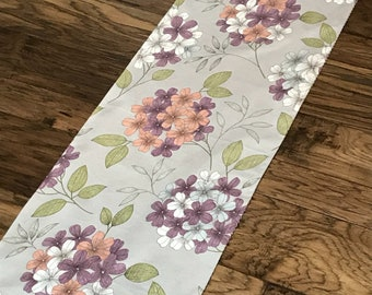 REVERSIBLE Spring Floral and Ticking Table Runner