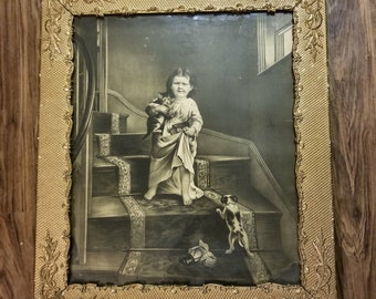 Antique Oil Painting, Arthur John Elsley, Kitten And Puppy, Children, Victorian Painting, Wall Art, Home Decor, Vintage Decor, FREE SHIPPING