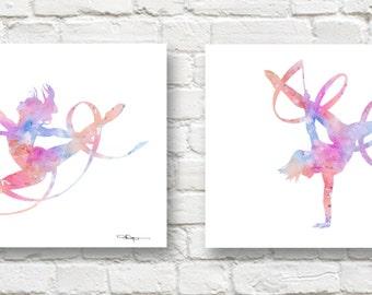 Set of 2 Ribbon Dancer Art Prints - Watercolor Painting - Wall Decor
