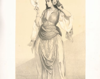 A Woman of Cairo - copy of illustration by Alexandre Bida from French publication 'Souvenirs d'Egypte' 1851