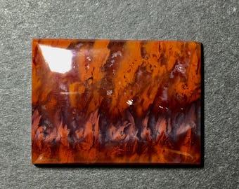 Flame agate cabochon 37 x 27 x 5 mm