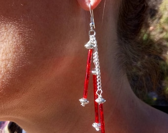 Earrings red three columns