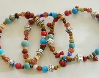 Bohemian Boho Gypsy Blue Red Beaded Stretchy Bracelets - Set of 3
