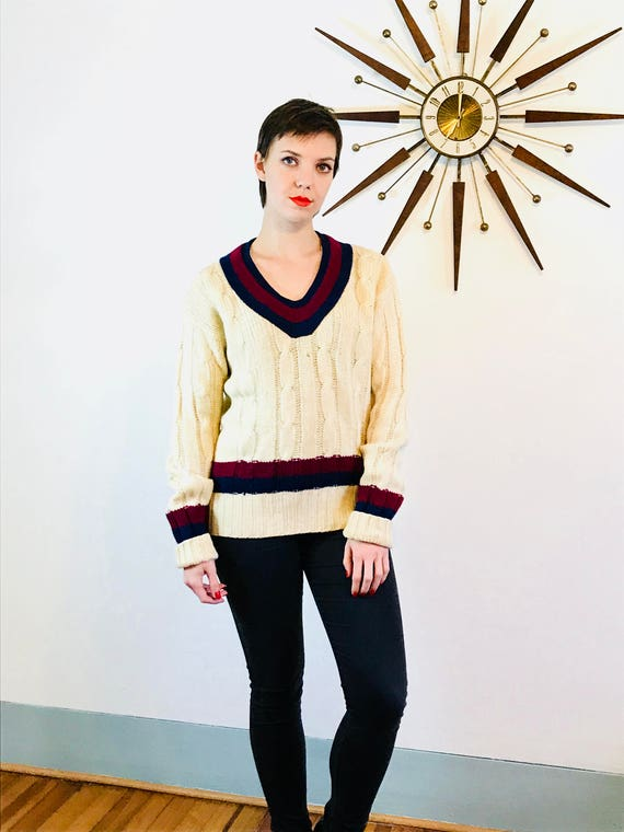 VINTAGE 40s Sweater, V-neck Cricket Jumper, Authentic 1940s sweater, Striped wool jumper, Knit V-neck pullover, Mens preppy sweater, Size M