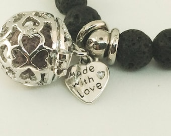 Black lava stone bracelet essential oil with Charms - Jewelry Diffuser Essential oils Aromatherapy