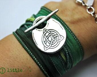 Irish Wrap Bracelet  Celtic Knot Artisan Silk Wrap Bracelet   St. Patty's Day