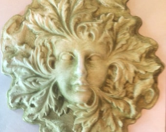 """10"""" Round Green Lady of the Forest Wall Hanging in Lightweight Gypsum Cement"""