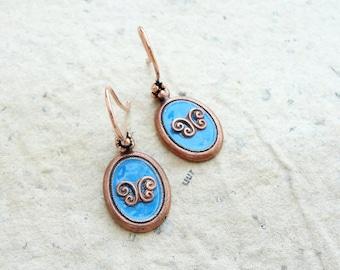 Blue Enamel Earrings - Enamel and Copper