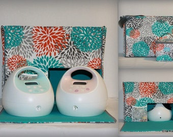 Ella style Spectra Breast Pump Bag in PP Blooms Pacific print with zipper top