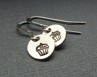 Sterling Silver Earrings - Tiny Hand Stamped Cupcake Earrings - Ready to Ship!