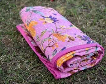 Pink Bird Indian handmade kantha baby quilt, kantha baby blanket, sari blanket, blanket, baby shower gift,kids bedding, kantha quilt gift
