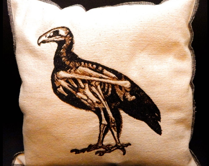Modern Upcycled Canvas Vintage Graphic Embroidered Dodo Bird Skeleton Pillow