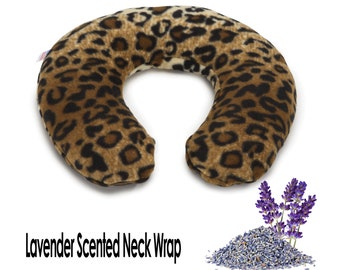 Lavender Microwavable Neck Heating Pad, Leopard, 30 Inches Long, Neck Shoulder Hot Cold Wrap, Washable Fleece Cover, Leopard Skin Print