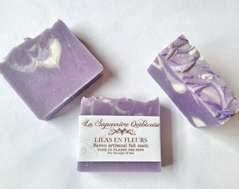 Savon Lilas, Savon artisanal fait main 100% naturel, Lilac Soap, Cold process All Natural Handmade Soap