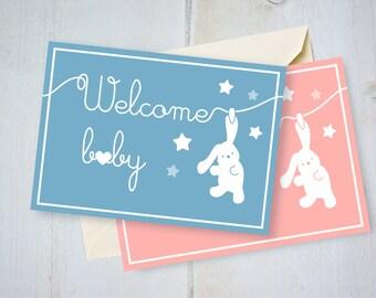 Biglietto nascita, auguri battesimo, Welcome baby card, neonato battesimo, illustrazioni per bambini, biglietto bambino, biglietto neonata