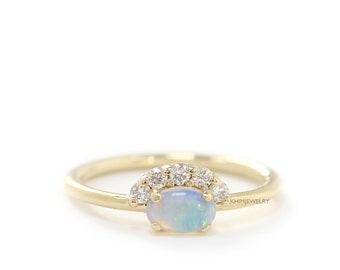 Yellow Gold Opal Diamond Ring, Round Diamond Engagement Ring, Diamond Halo Ring, Diamond Crown Cluster Ring,Dainty Wedding Rose Gold Ring