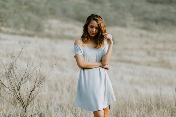 Darla Off The Shoulder Dress / Light Heather Gray / Black / Navy / Grey