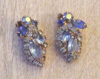 Art Deco, Weiss Blue Glass Earrings Vintage Jewelry SALE