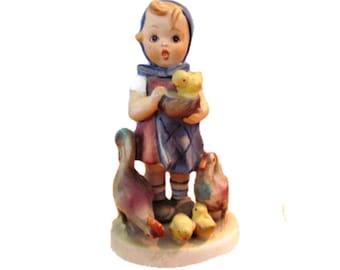 vintage porcelain German W G Hummell girl with hen & chicks figurine