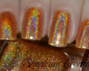 HUNTSMAN Linear Holographic Orange Nail Polish