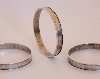 Package Of 3 Channel Brass Bracelet Bangles Antique Silver Plated   SALE While Supplies Last
