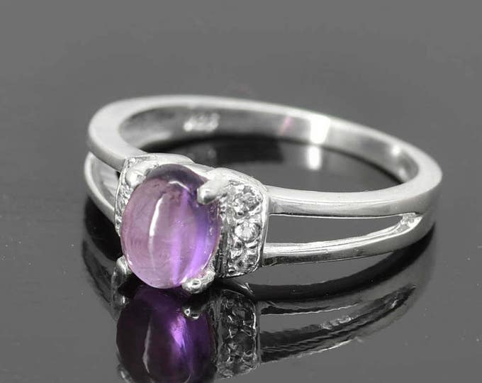 Amethyst Ring, Purple, Oval Cut, Birthstone Ring, February, Gemstone Ring, Sterling Silver Ring, Solitaire Ring, Statement Ring
