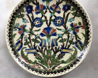 Vintage Hand Painted Turkish Ceramic Plate / Vintage Turkish Kütahya Studio Pottery /  Kütahya Pottery Dish
