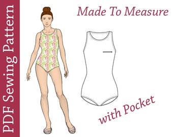 Swimsuit PDF Pattern- Custom Size PDF Sewing Pattern, swimsuit pdf pattern,swimsuit sewing pattern,swimsuit pattern women,swimsuit plus size