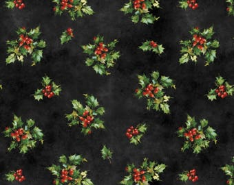 Angel Song Black/Holly - Fabric by the yard