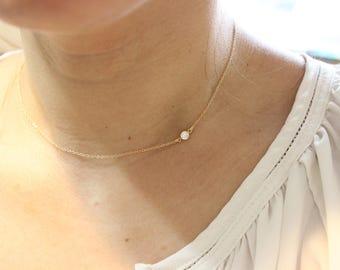 tiny diamond necklace, diamond solitaire necklace, delicate necklace, layered necklace, dainty necklace, gold necklace, simple necklace