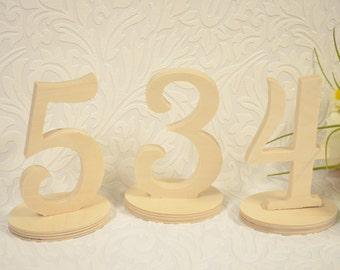 Wedding Wooden Table Numbers - Do It Yourself Wedding Table Number Kit - Unfinished Wood Numbers for Wedding DIY Craft Set of 1-20