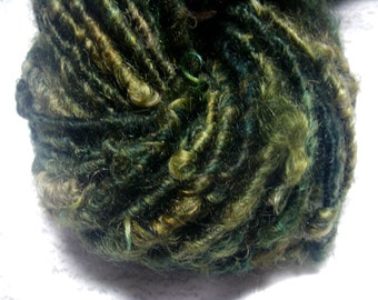 Handspun Curly Textured Cotswold Wool Bulky Art Yarn in Deep Green with Gold by KnoxFarmFiber to Knit Crochet Weave