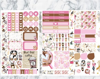 But First Coffee Mini Kit, planner stickers