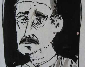 Small Original India Ink Drawing, Tired Man
