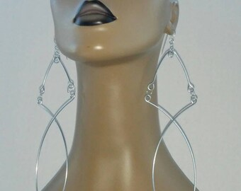 Fabulous Uniquely Shaped Wire Earrings, Large Earrings, Long Earrings, Fashion Earrings, Dangling Earrings, Womens Jewelry, Big Earrings