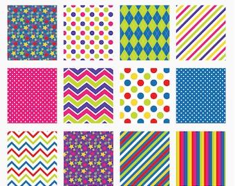 digital papers stars chevron argyle stripes polka dots - Birthday Kids Digital Papers