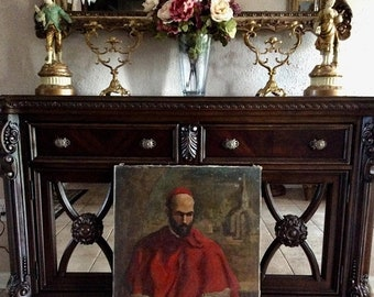 Sale Antique French Old Master Style Oil Painting Portrait of a Cardinal Signed R. Lebron