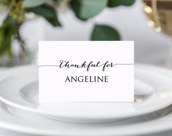 Thanksgiving Place Card Template, Seating Cards Template, Place Cards Template, Seating Card Wedding, Printable Place Card Template