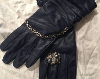 Gorgeous Blue Leather Winter Driving Gloves