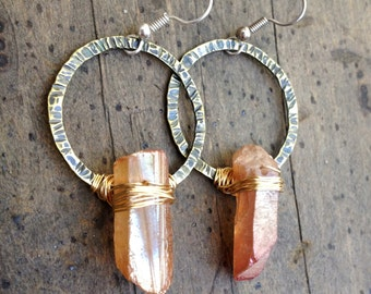 Raw Crystal Earrings Raw Quartz Earrings Hammered Brass Hoops