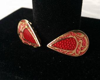Tear Drop Pink/Red Roccoco Earrings