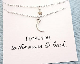Mother Daughter Jewelry Set | Star Necklace Mommy and Me Gift Set, Mother Daughter Gift for Mom, Crescent Moon Daugther Gift | MD06